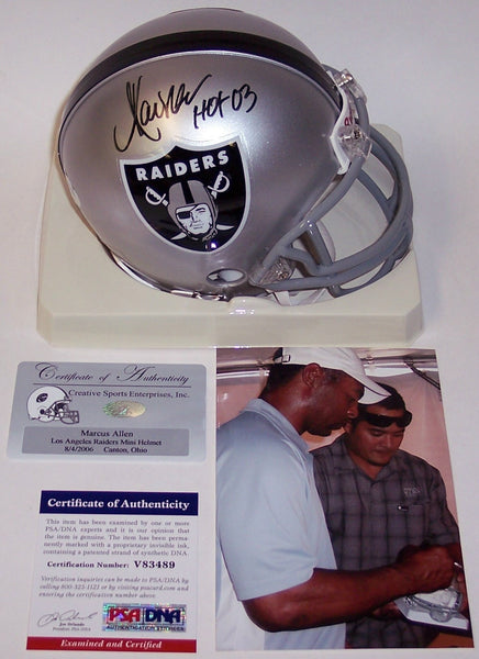 Marcus Allen Autographed Hand Signed Raiders Mini Helmet - PSA/DNA