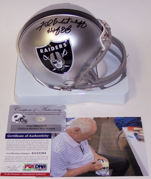 Fred Biletnikoff Autographed Hand Signed Raiders Mini Helmet - PSA/DNA