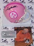 Terry Bradshaw Hand Signed Steelers Pink Mini Helmet - PSA/DNA