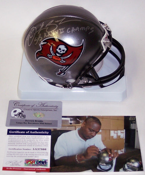 Derrick Brooks Autographed Hand Signed Bucs Mini Helmet - PSA/DNA