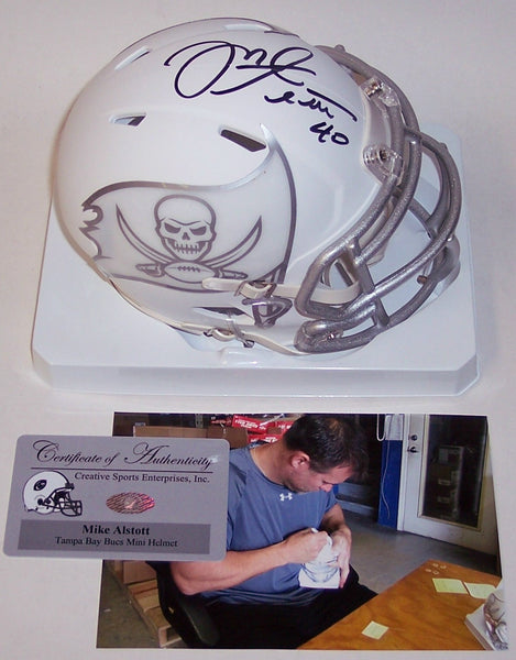 Mike Alstott Autographed Hand Signed Tampa Bay Bucs ICE Speed Mini Helmet