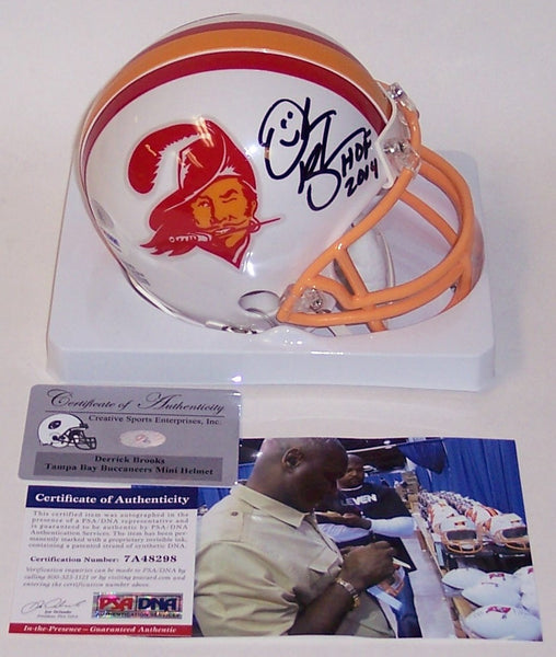 Derrick Brooks Autographed Hand Signed Bucs Throwback Mini Helmet - PSA/DNA