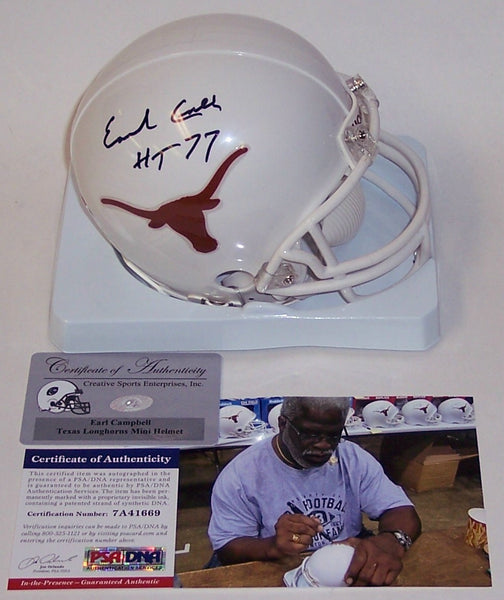 Earl Campbell Autographed Hand Signed Texas Longhorns Mini Helmet - PSA/DNA