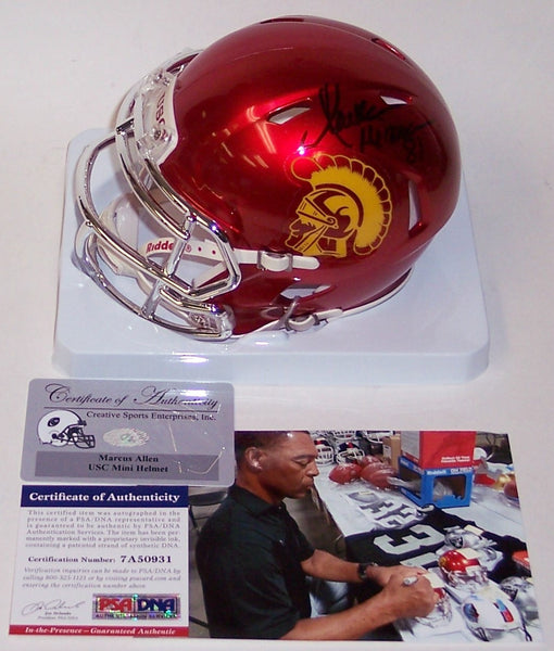 Marcus Allen Autographed Hand Signed USC Trojans Chrome Speed Mini Helmet - PSA/DNA