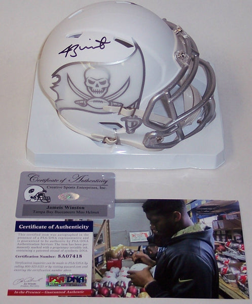 Jameis Winston Autographed Hand Signed Bucs ICE Speed Mini Helmet - PSA/DNA