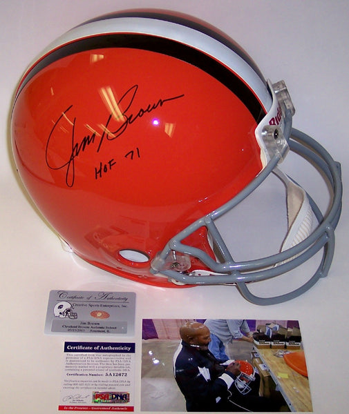 Jim Brown Hand Autographed Signed Cleveland Browns Throwback Authentic Helmet - PSA/DNA