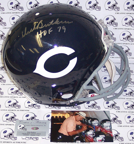 Dick Butkus Hand Signed Chicago Bears Throwback Authentic Helmet - PSA/DNA