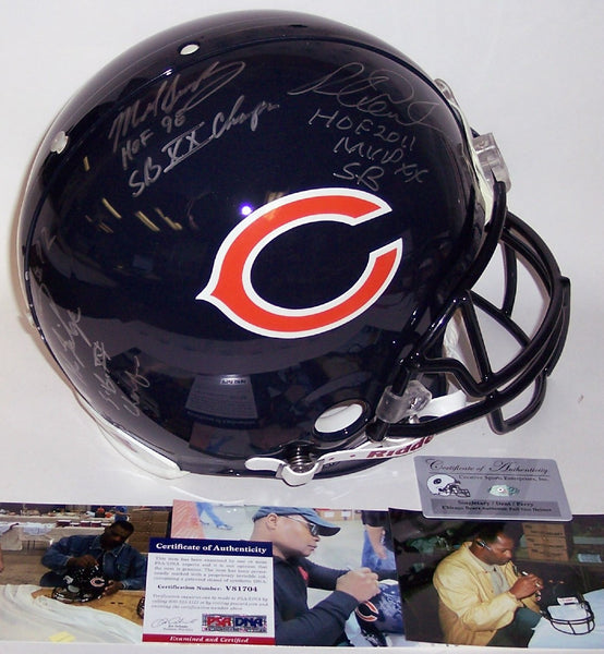 Mike Singletary, Richard dent & William Perry Autographed Hand Chicago Bears Authentic Full Size Helmet - PSA/DNA
