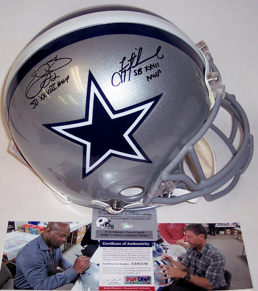 Emmitt Smith & Troy Aikman Autographed Hand Signed Dallas Cowboys Authentic Helmet - PSA/DNA