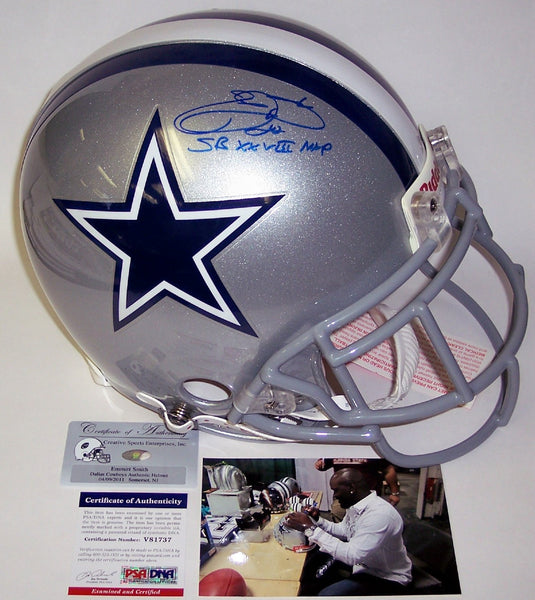 Emmitt Smith Autographed Hand Signed Dallas Cowboys Authentic Helmet - PSA/DNA