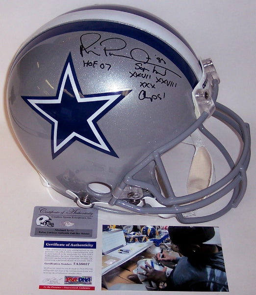 Michael Irvin Autographed Hand Signed Dallas Cowboys Full Size Authentic Helmet - PSA/DNA