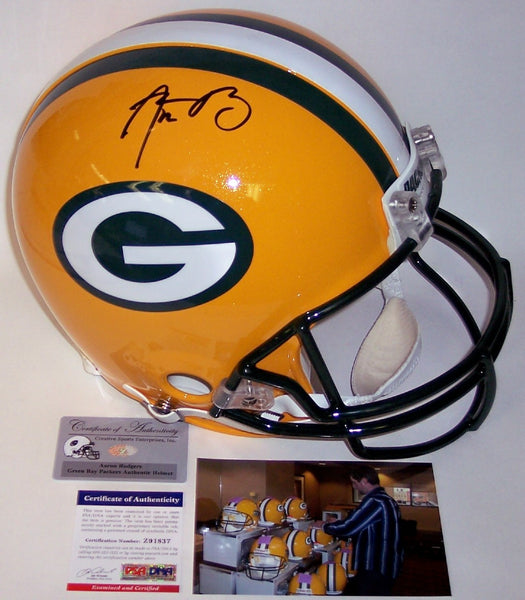 Aaron Rodgers Autographed Hand Signed Green Bay Packers Full Size Authentic Helmet - PSA/DNA