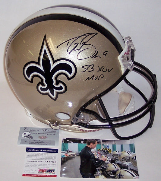Drew Brees Autographed Hand Signed New Orleans Saints Full Size Authentic Helmet - PSA/DNA