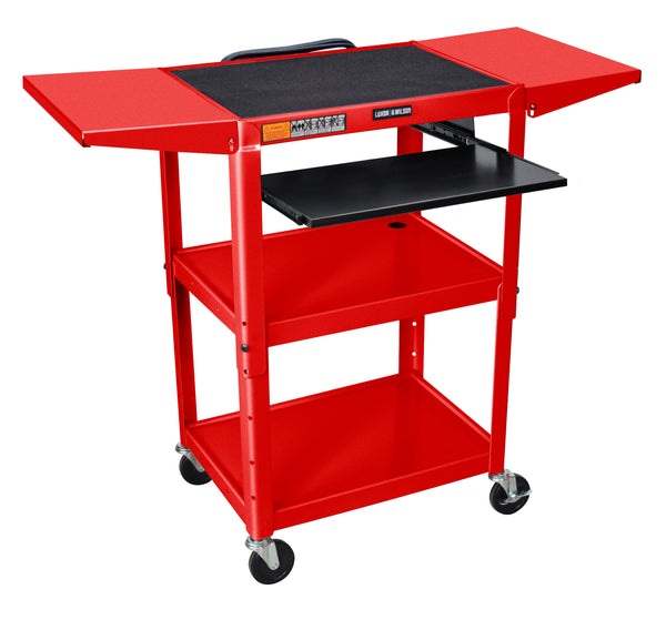 Luxor adjustable height red metal a/v cart w/ pullout keyboard tray & 2 drop leaf shelves