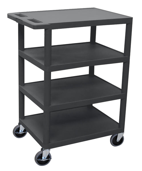 Luxor four flat shelf black utility cart