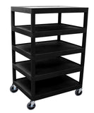 Luxor five flat shelf black utility cart