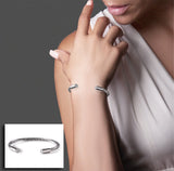 BTiff Signity Star End Brighter than Diamond Stainless Steel Cuff Bangle Bracelet