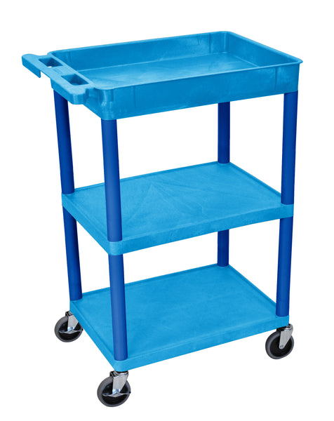 Luxor blue 1 tub shelf  and two flat shelves cart