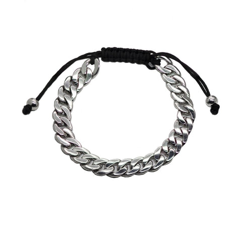 B.Tiff Cuban Link Adjustable Bracelet Silver, Gold and Black