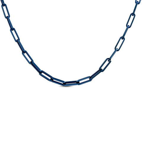 "B.Tiff ""Jemma"" Flat Long Adjustable Link Necklace Silver, Rose Gold, Blue, Gold"
