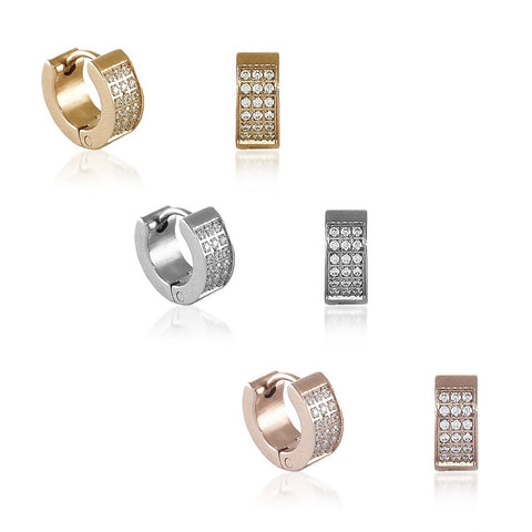 B.Tiff Pave Stainless Steel Huggie Earrings Silver Gold Rose Gold