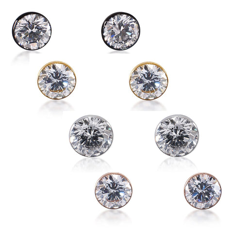 B.Tiff Stainless Steel 1 CT Stud Earrings Gold Black Silver Rose Gold