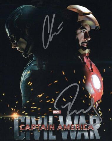 Autographed 8 X 10 Photo Chris Evans Robert Downey Jr Marvel Captain America Civil War COA