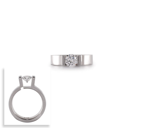 B.Tiff Round Stainless Steel Solitaire Engagement Ring Tension Set 1 Ct sizes 4-9
