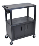 Luxor 3 flat shelves w/ cabinet & electric black presentation station