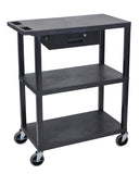 Luxor 3 flat shelves & drawer black presentation station