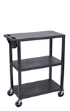 Luxor 3 flat shelves black presentation station w / electric
