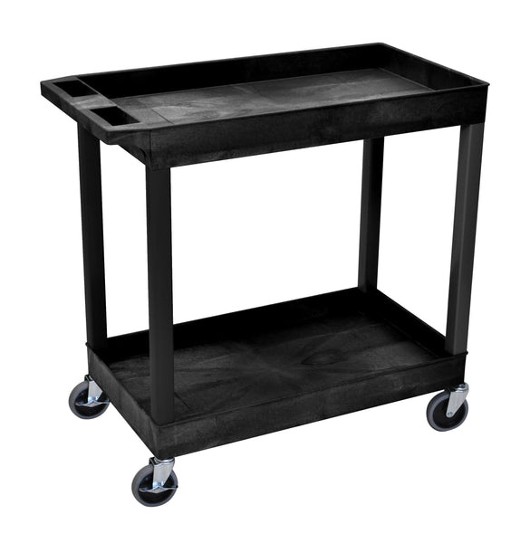 Luxor high capacity 2 tub shelves cart in black
