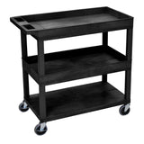 Luxor high capacity 2 tubs and 1 flat shelf cart in black