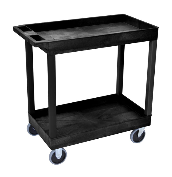 Luxor hd high capacity 2 tub shelves cart in black