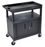 Luxor high capacity 2 flat and 1 tub shelf cart w/ cabinet in black