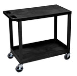 Luxor black ec21 18x32 cart with 1 tub shelf with 1 flat shelf
