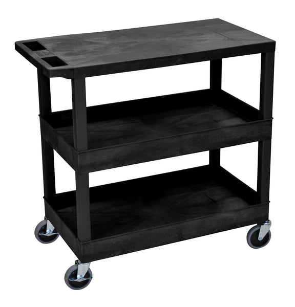 Luxor black ec211 18x32 cart with 2 tub shelves and 1 flat shelf