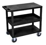 Luxor black ec212hd 18x32 cart with 2 flat/1tub shelves