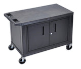 Luxor black ec25c-b 18x32 cart w/ 2 shelves and cabinet