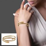 B.Tiff Double Wrapped Cable Bracelet Silver, Black, Gold Rose Gold Small Medium Large