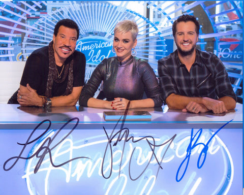 Autographed 8X10 Picture Lionel Ritchie Luke Bayan Katy Perry American Idol COA