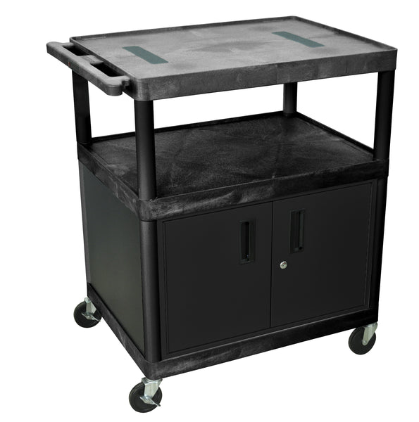Luxor black endura cart w/ 3 shelves & cabinet