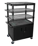 Luxor black endura multi-height 3 shelf a/v cart w/ cabinet