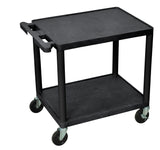 "Luxor black 2 shelf a/v cart 26"" h"