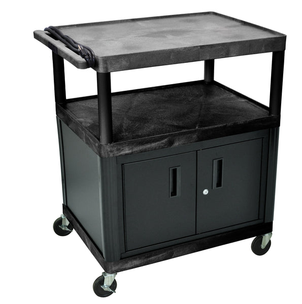 "Luxor endura black 3 shelf presentation cart w/ cabinet 40 1/4"" h"
