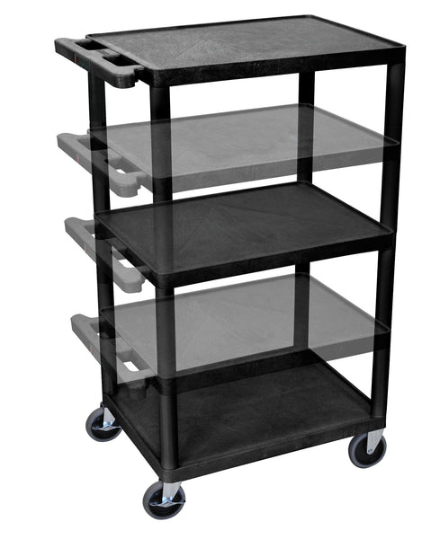 Luxor black endura presentation cart multi height with electric