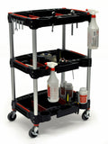 Luxor 3 shelf tool cart features 3 plastic shelves with removable dividers for tool storage.