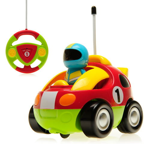 Cartoon Race Car Radio Control Toy for Toddlers (Red)