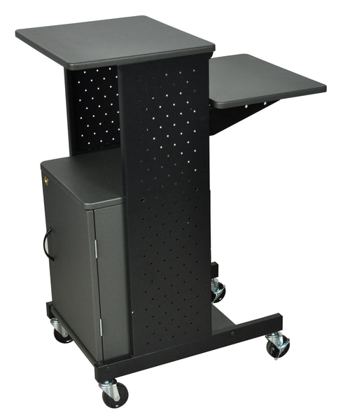 Luxor gray 4 shelf mobile presentation station w/ cabinet