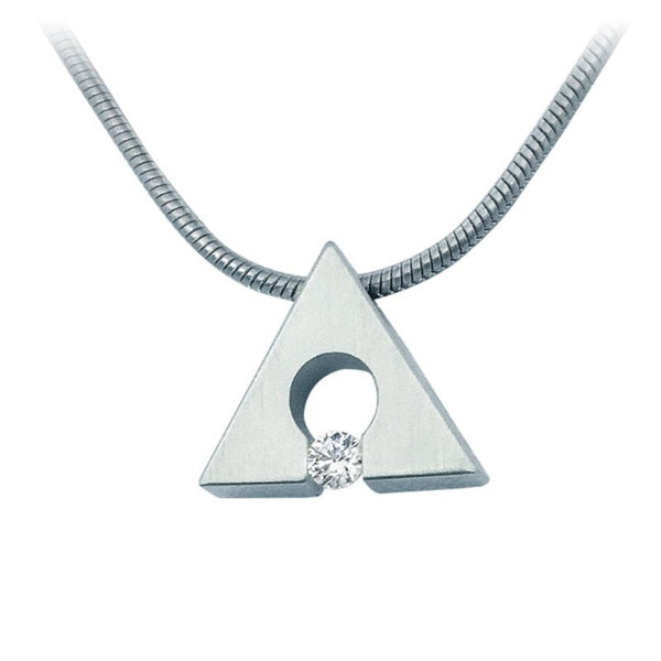 B.Tiff Stainless Steel Supera Triangle Pendant Necklace Tension Set